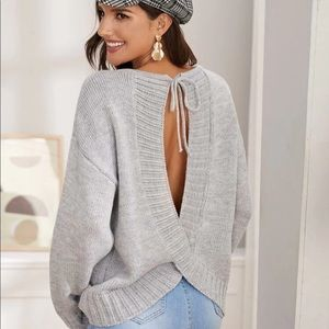 Cut out tie back sweater
